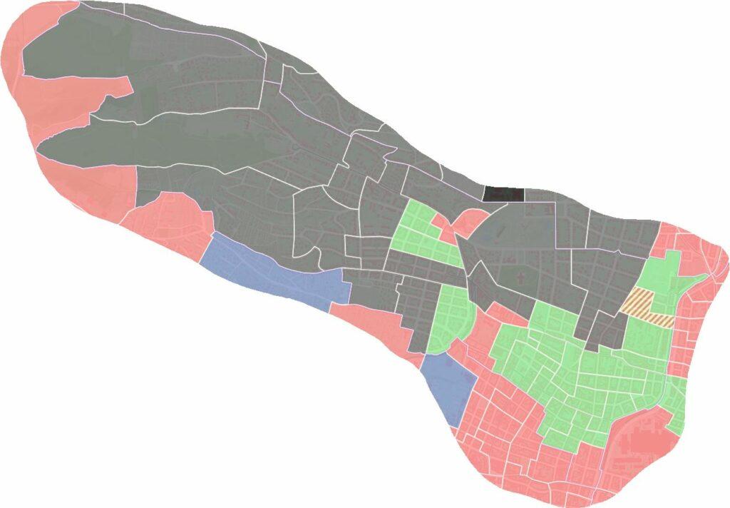 Das Wahlergebnis der Bezirksvertretungswal 2015 auf Sprengelebene