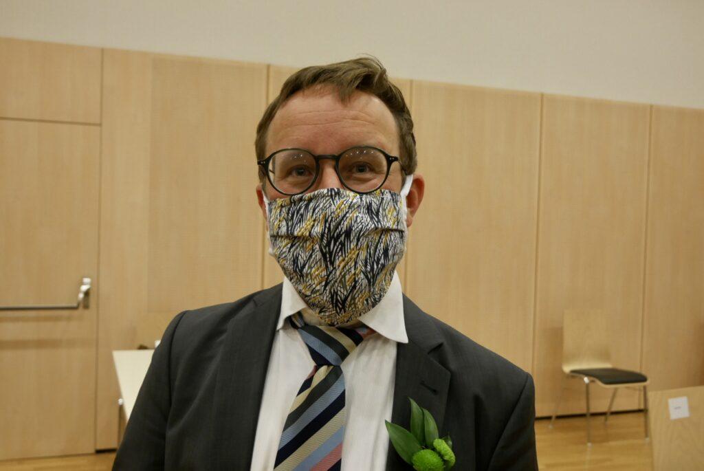 Jakob Kastner nach Angelobung mit Maske